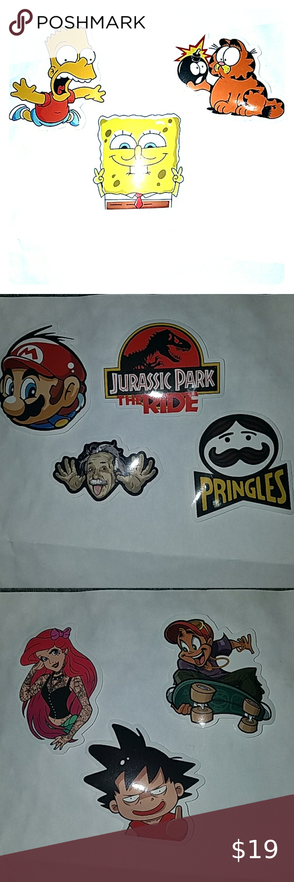 Stickers 2 for $1 Random stickers 2 for $1. Comment which one you want and I'll make a separate listing for you to buy.   #ariel #lakers #stickers #spongebob #luffy #jurassicpark #garfield #simpsons #mario #einstein #pringles Other