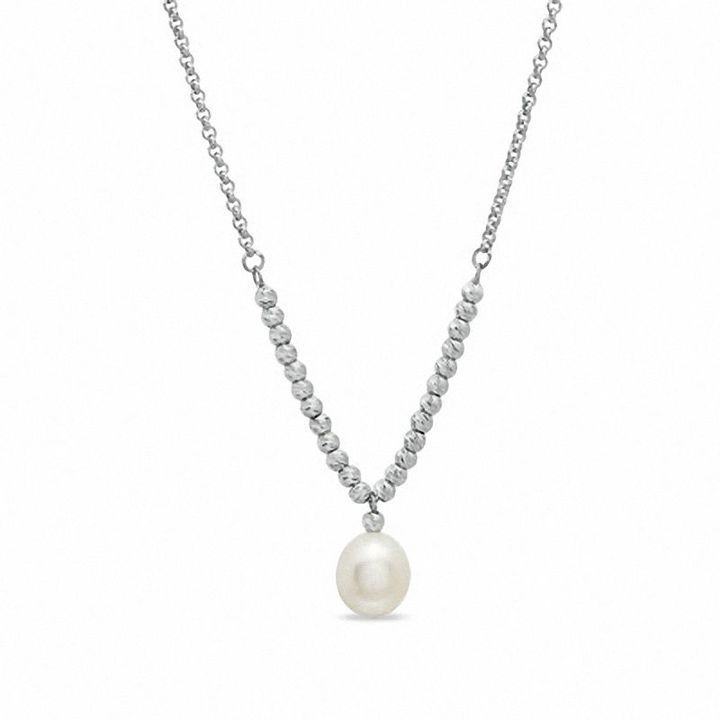 Zales 9.0 - 9.5mm Cultured Freshwater Pearl Drop and Brilliance Bead Necklace in Sterling Silver - 17 1tpGhkFF2