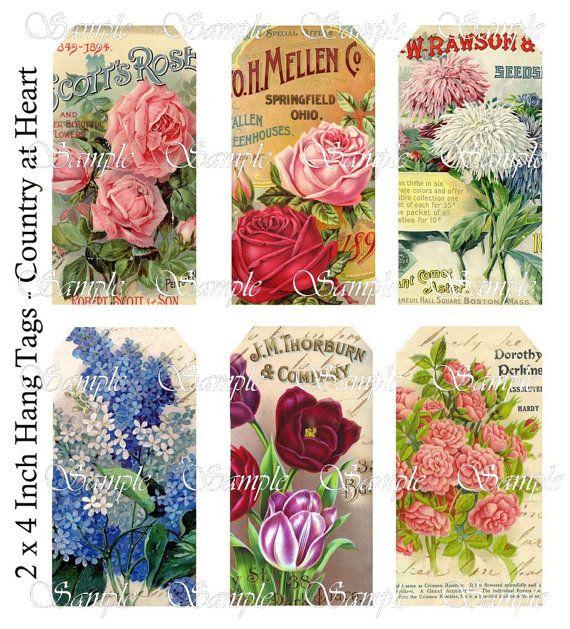 Vintage Flower Ad Hang Tags -  Printable Digital Collage Sheet - Download via Etsy
