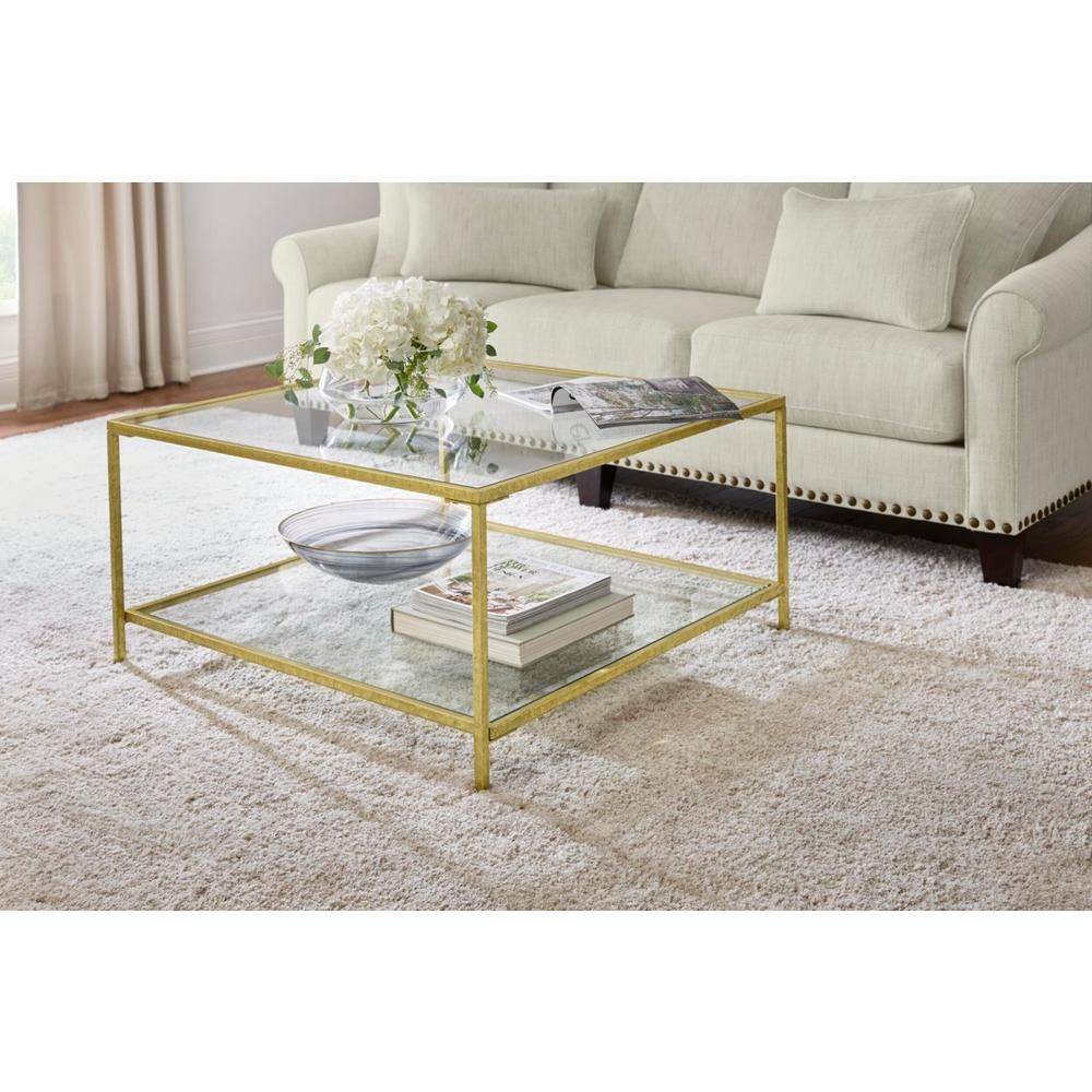 Home Decorators Collection Bella 34 In Gold Leaf Clear Medium Rectangle Glass Coffee Table With Shelf V183100xxa W5p The Home Depot Square Coffee Tables Living Room Coffee Table Glass Table Living Room [ 1000 x 1000 Pixel ]