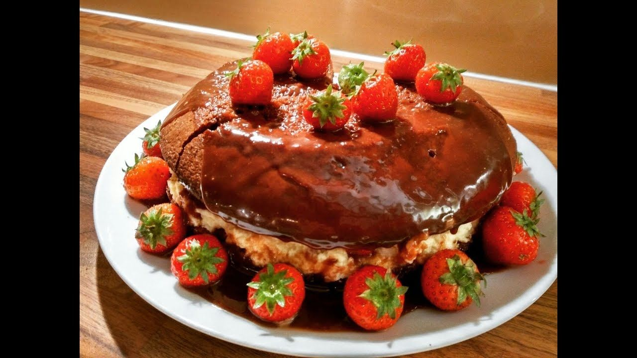 Delicious anniversary chocolate cake with strawberries [homemade