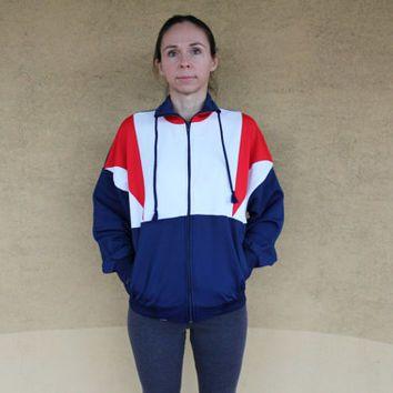 f8447ee1 Vintage Sport Jacket, 80s Unisex Hipster Jacket, Womens or Men Blue Red  White Wind Breaker, Retro Sportswear, Size S