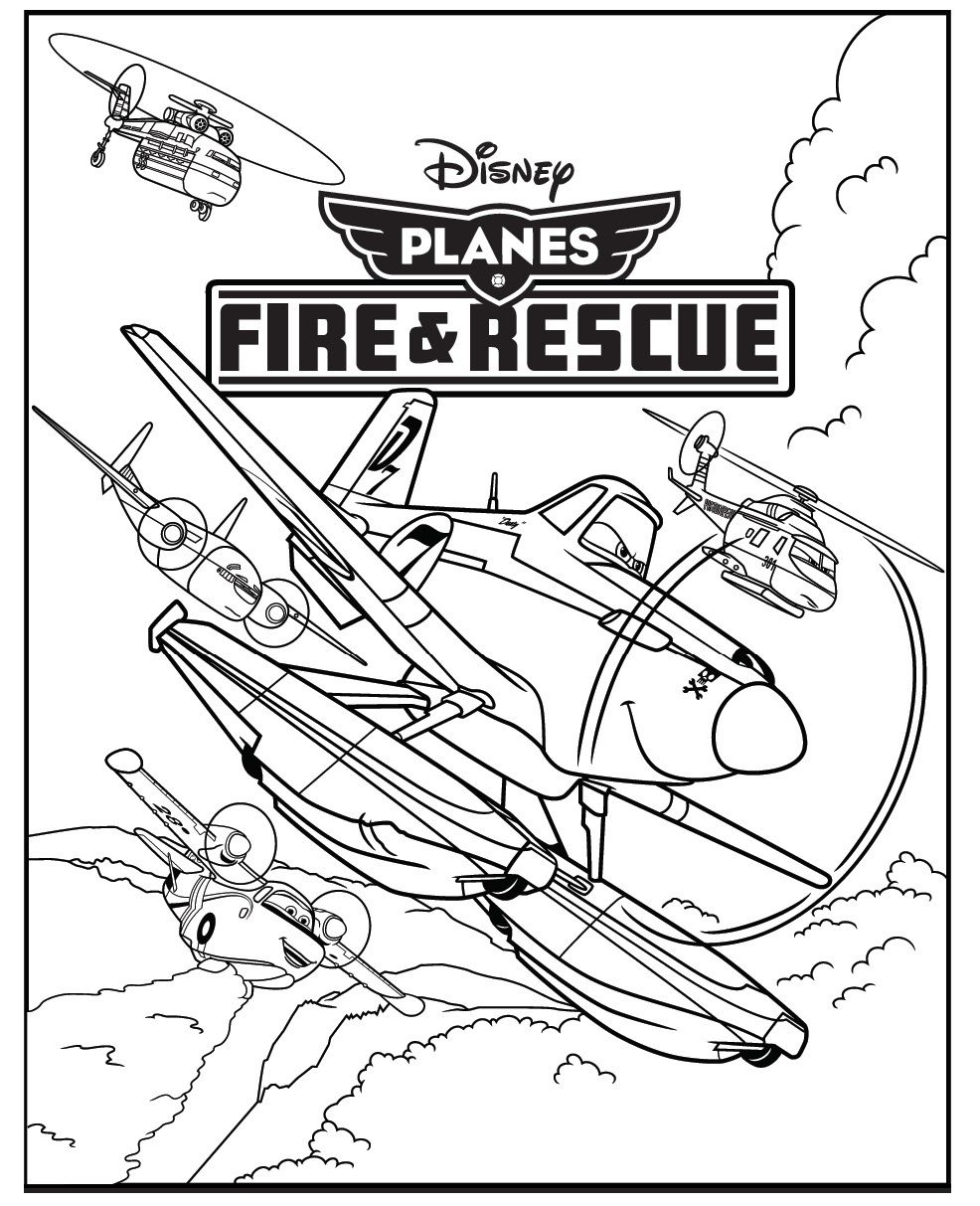 Planes 2 fire and rescue colouring page with dusty crophopper