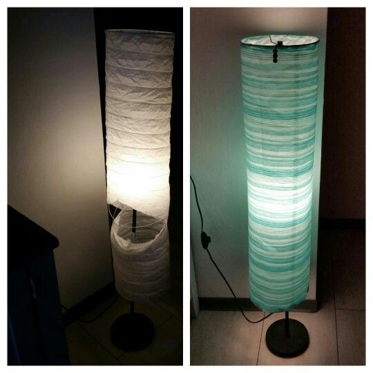 Ikea Hack From Torn Paper Floor Lamp To Beach House Style Lamp Simply Wrap Fabric Around And Handsew It To Ikea Floor Lamp Floor Lamp Makeover Diy Floor Lamp