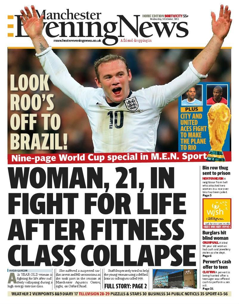 Front page of the Manchester Evening News, October 16 2013