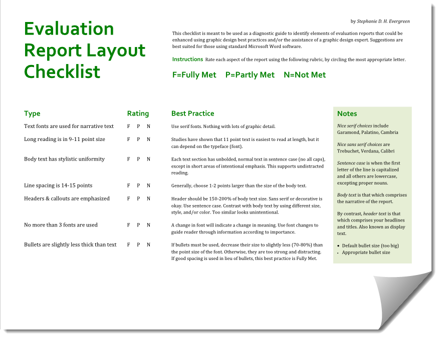 Evaluation Report Layout Checklist Data Visualization Techniques Dissertation