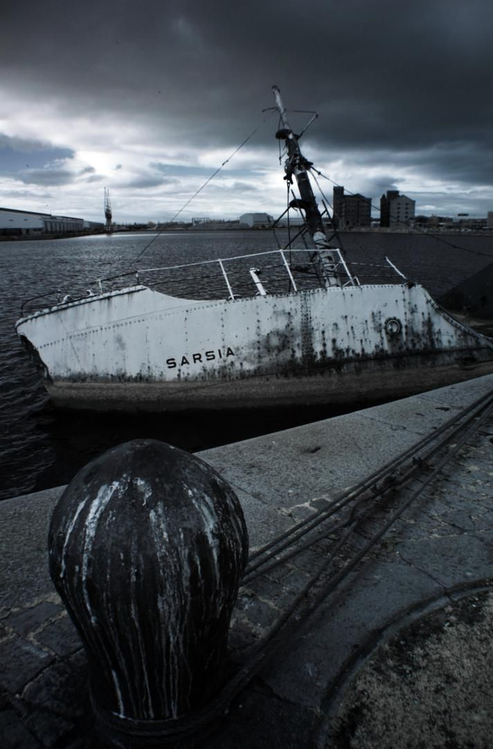 Infrared Photograph of Fishing-boat Sarsia sinking at her moorings in East Float , Wallasey