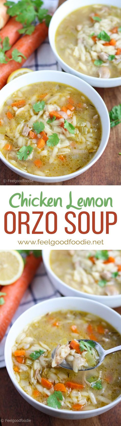 This Chicken Lemon Orzo Soup reminds me a lot of Chicken Noodle Soup. It has the three popular vegetables in most soups – onions, celery and carrots, it's loaded with shredded juicy chicken, and filled with orzo pasta (that cool pasta that looks like rice but tastes like pasta) – all in a fresh and lemony chicken broth.
