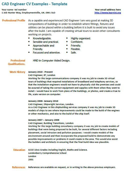 CAD Engineer CV Example LearnistOrg, Pinterest Cad engineer - architectural resume examples