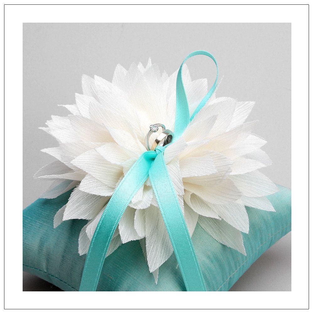Lydia series - ivory chiffon flower on mint silk dupioni wedding ring pillow. $40.00, via Etsy.