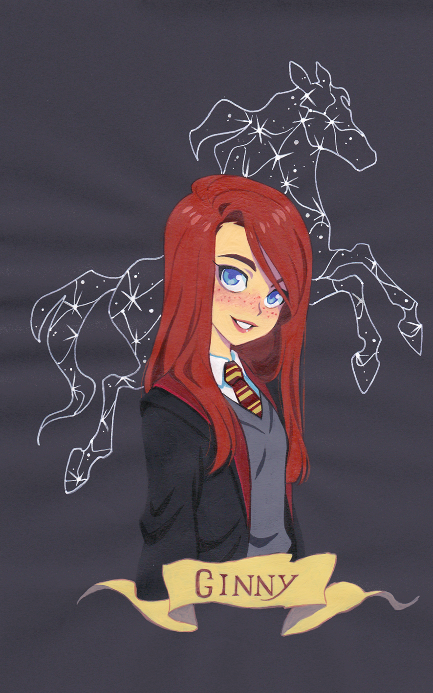 Ginny Weasley Gouache Painting On Colored Paper Fanart Harry