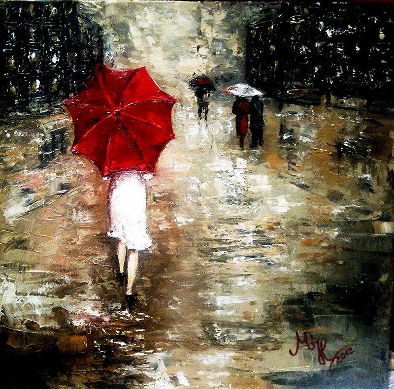 Woman With Umbrella Monet Painting Red Umbrella Red Umbrella