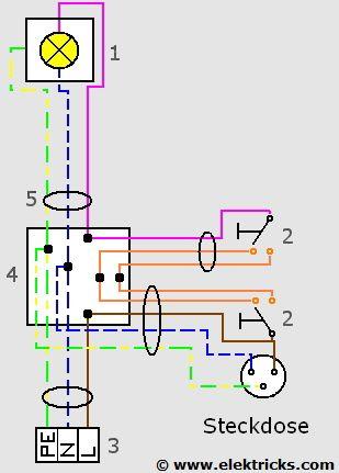 Steckdose An Wechselschaltung Anschliessen Elektricks Com Steckdosen Elektroinstallation Steckdosen Und Lichtschalter