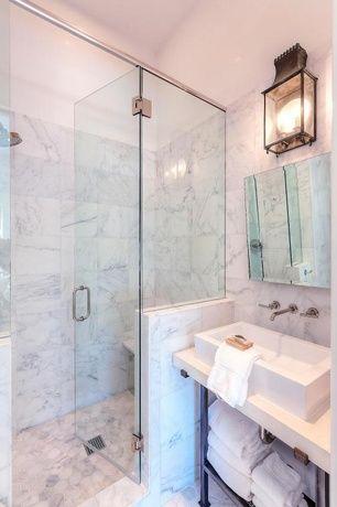 contemporary 3/4 bathroom with vessel sink, bianco carrara