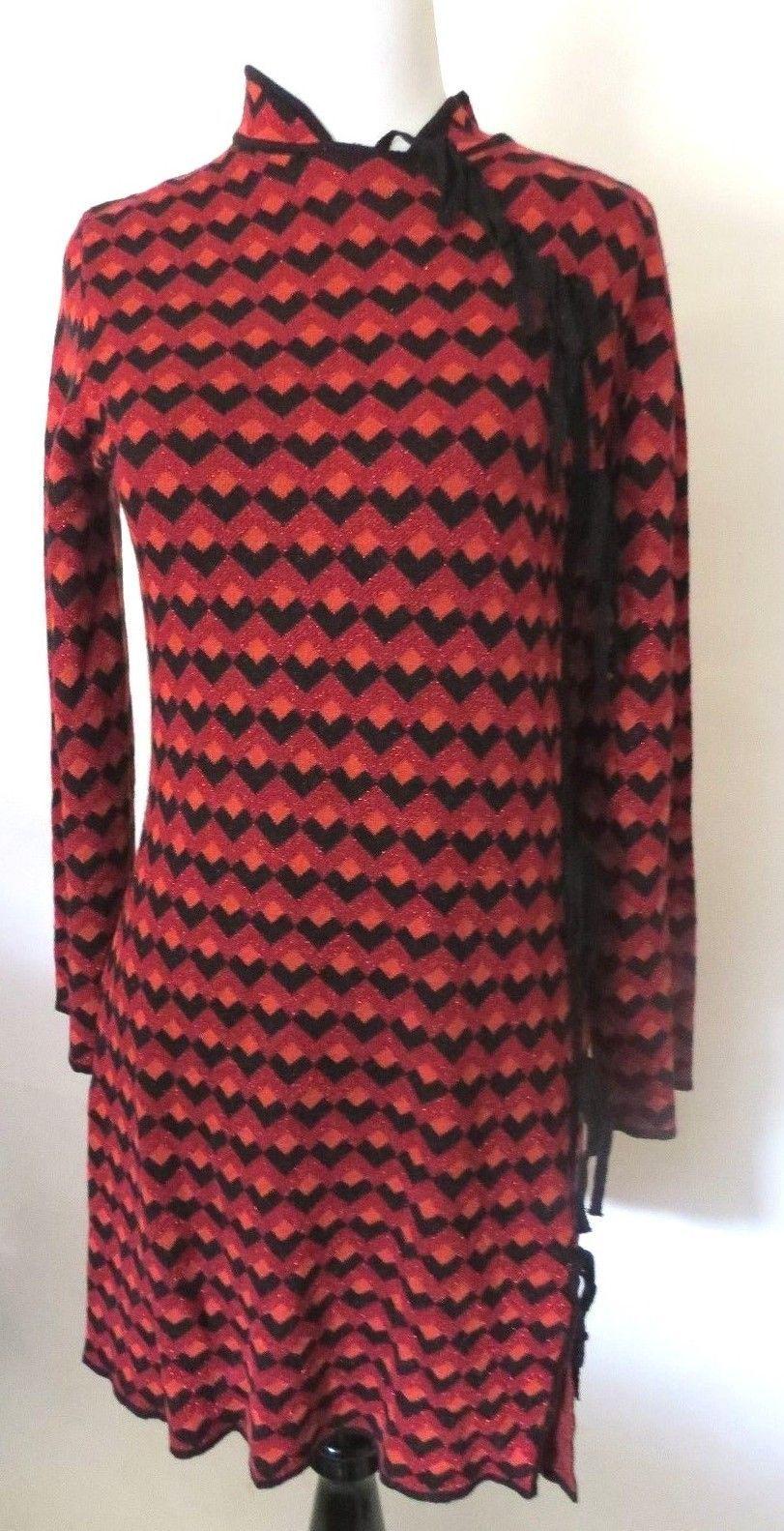 Zara red geometric print metallic long sleeve dress size s womenus