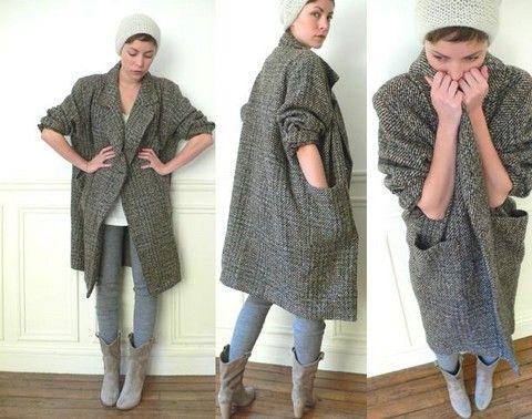Vintage Tweed Oversize Wool Coat, H&M Grey Loose Fit Leggings ...