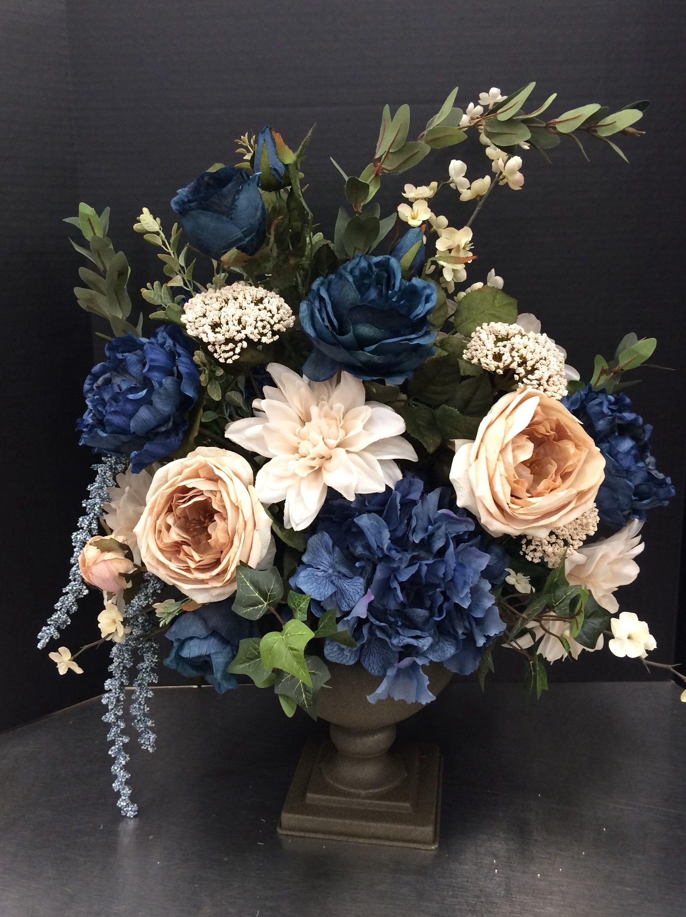 Blue And Cream Silk Floral Arrangement Fake Flower Arrangements Blue Flower Arrangements Flower Arrangements Diy