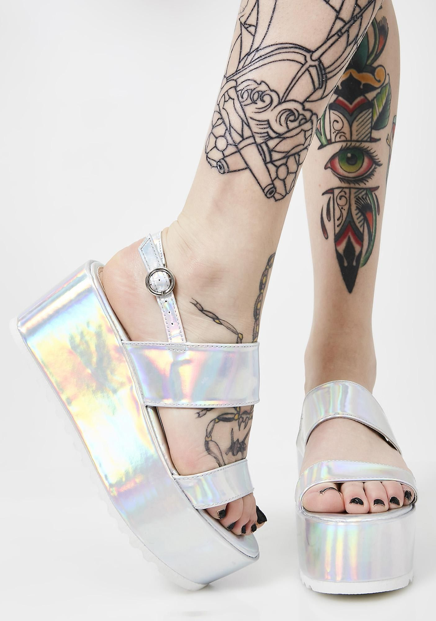 3383622f137 Cosmic Bae Of Light Hologram Platforms will have ya walkin  on rainbowz.  Keep it lit in these super sikk platform sandals that are treaded with a  back ...