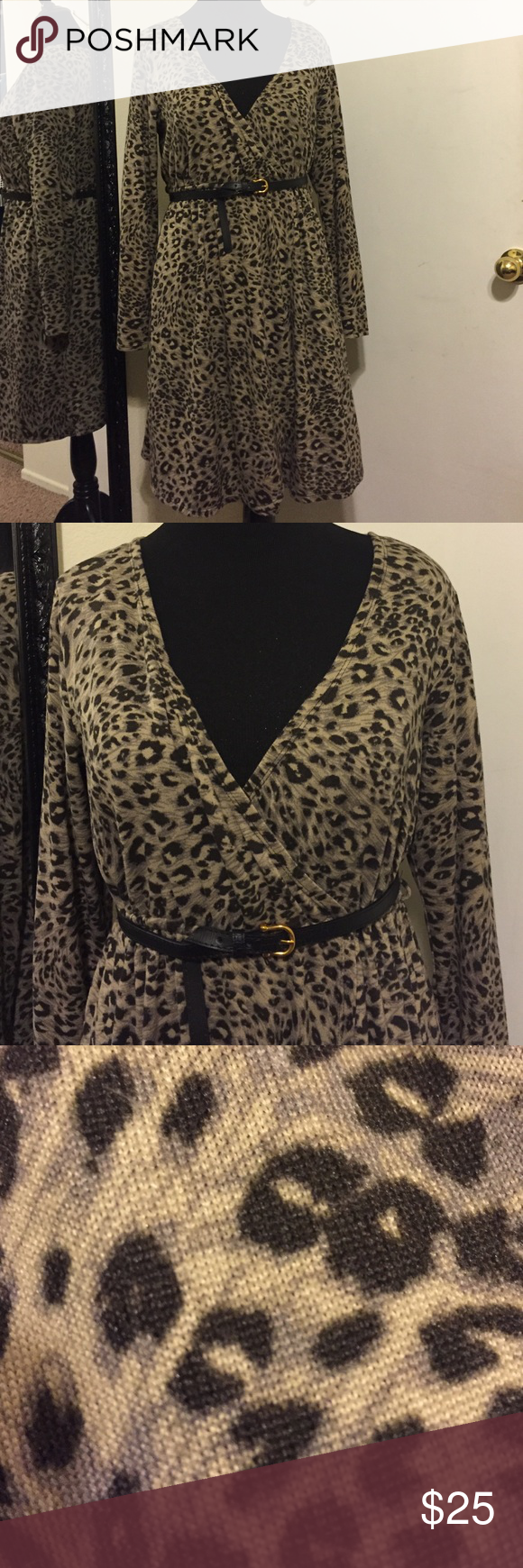 Sexy animal print faux wrap around dress!! Sexy and professional!! NOTE***Belt NOT included! torrid Dresses Midi