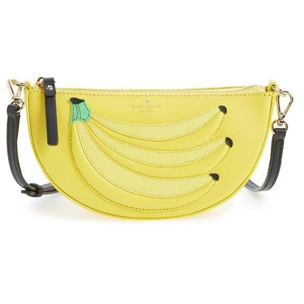 Women's Kate Spade New York 'Flights Of Fancy - Bananas' Crossbody Bag (440 BRL) ❤ liked on Polyvore featuring bags, handbags, shoulder bags, bolsos, kate spade, yellow multi, beige shoulder bag, yellow cross body purse, fancy handbags and beige handbags