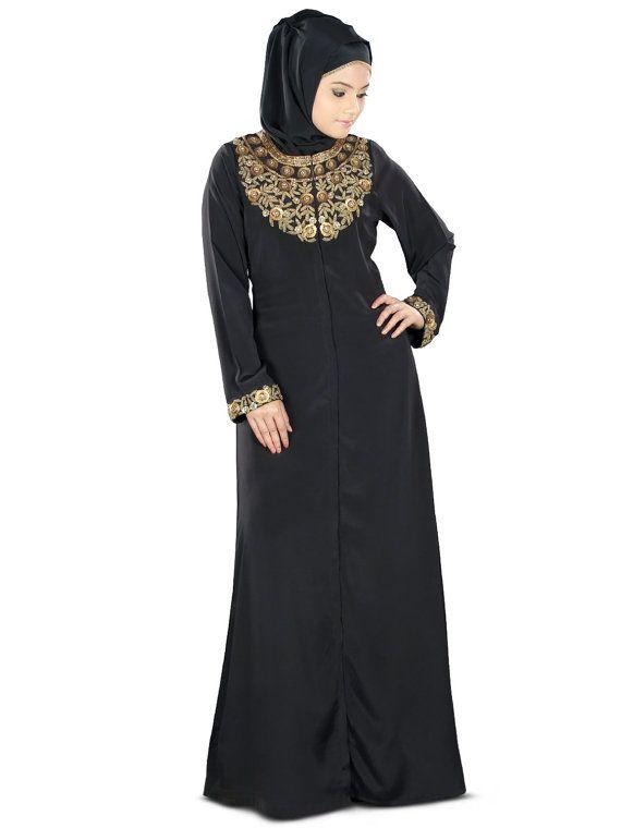 Mybatua Fiddah Gold Hand Embroidered Burqa Ay 352 Modish Black