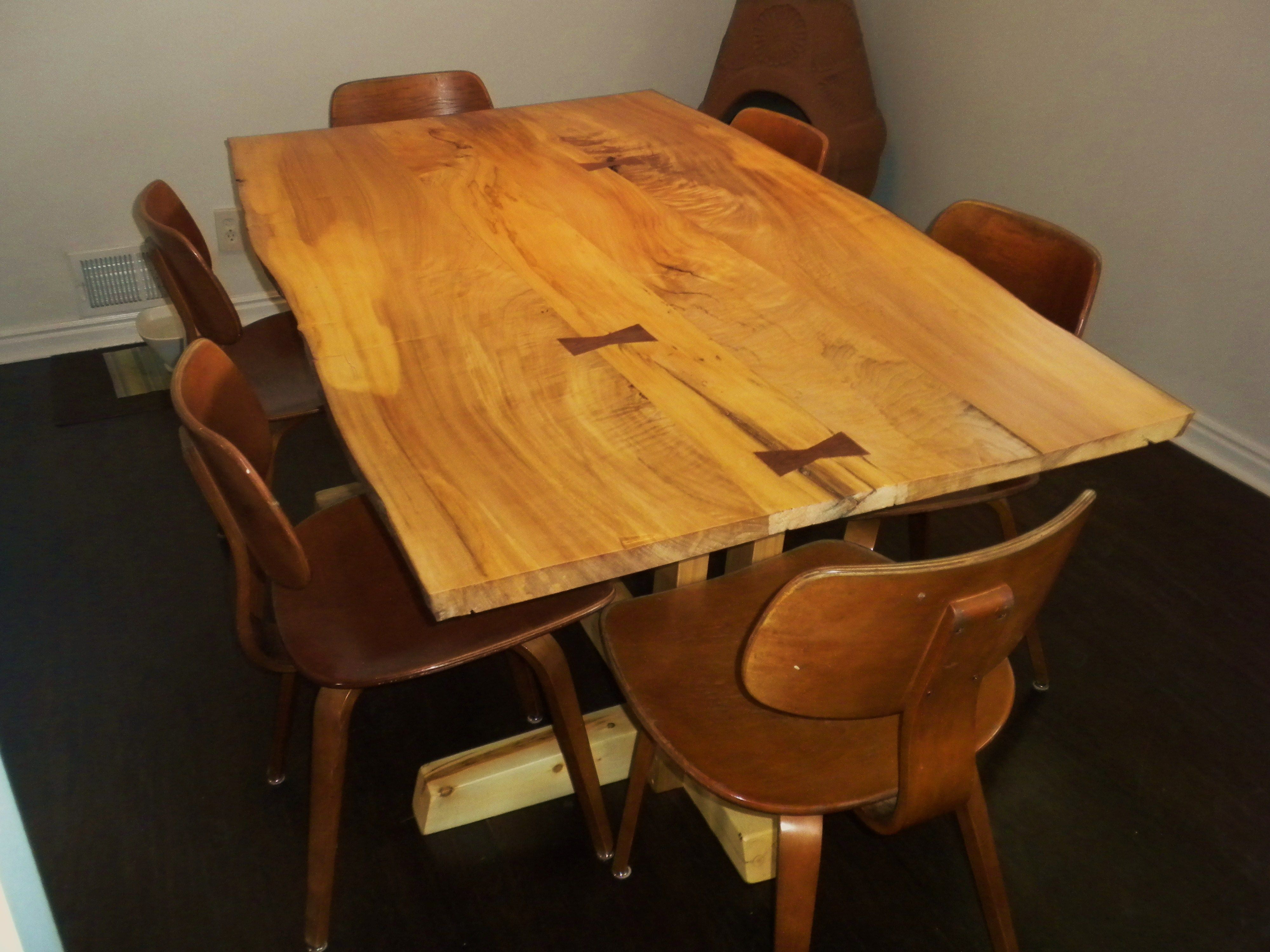 Excellent Dining Room Table With A Slab Top And Inlaid Butterfly Keys Dailytribune Chair Design For Home Dailytribuneorg
