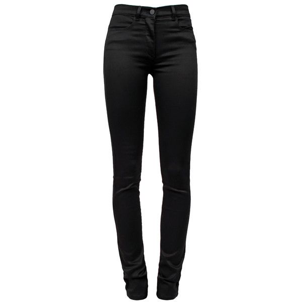 ALEXANDER WANG T Sateen Jeans (910 BRL) ❤ liked on Polyvore featuring jeans, pants, bottoms, calças, trousers, t by alexander wang, black jeans, skinny jeans, denim skinny jeans and black skinny leg jeans