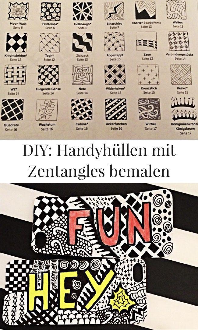 diy zentangle muster zeichnen so knnt ihr euch handyhuellen ganz einfach selbst machen - Handyhullen Muster