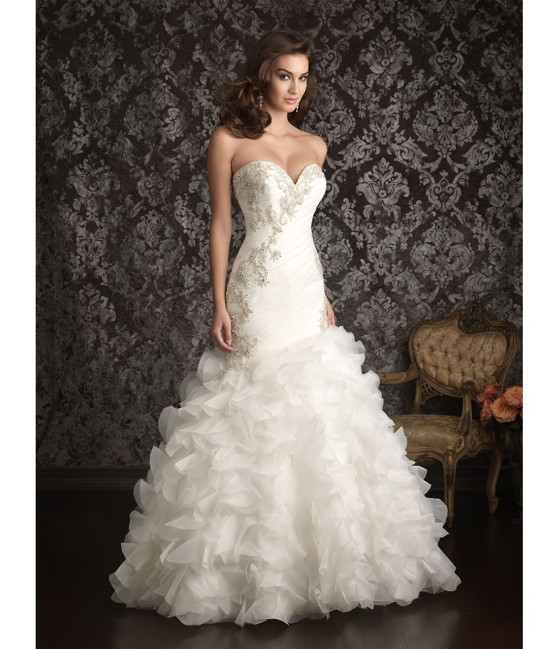 2013 Allure Bridal - White Organza Swarvoski Crystal Wedding Dress ...
