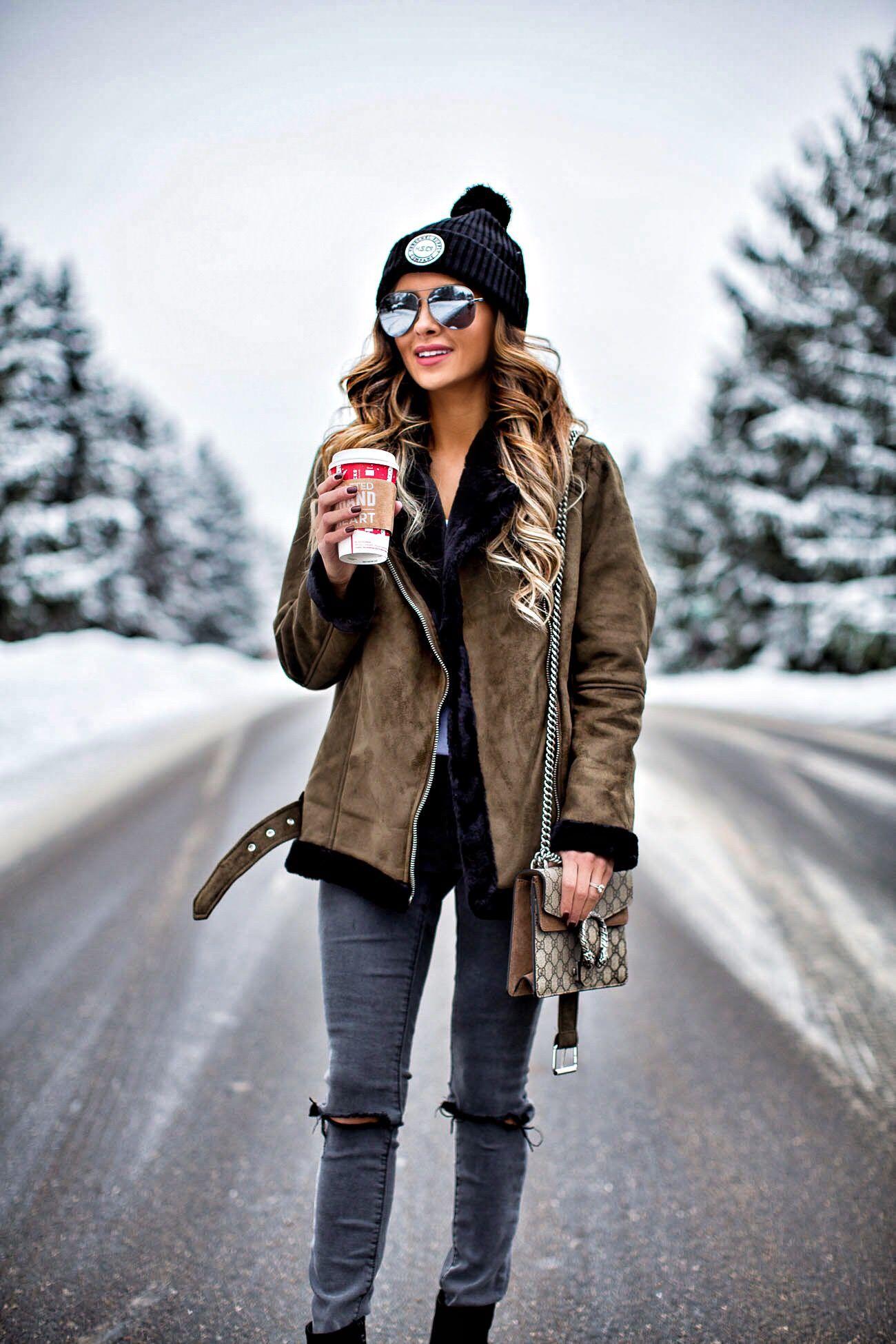 d6f663dd6507 fashion blogger mia mia mine wearing an olive shearling jacket from topshop  and a herschel hat from nordstrom