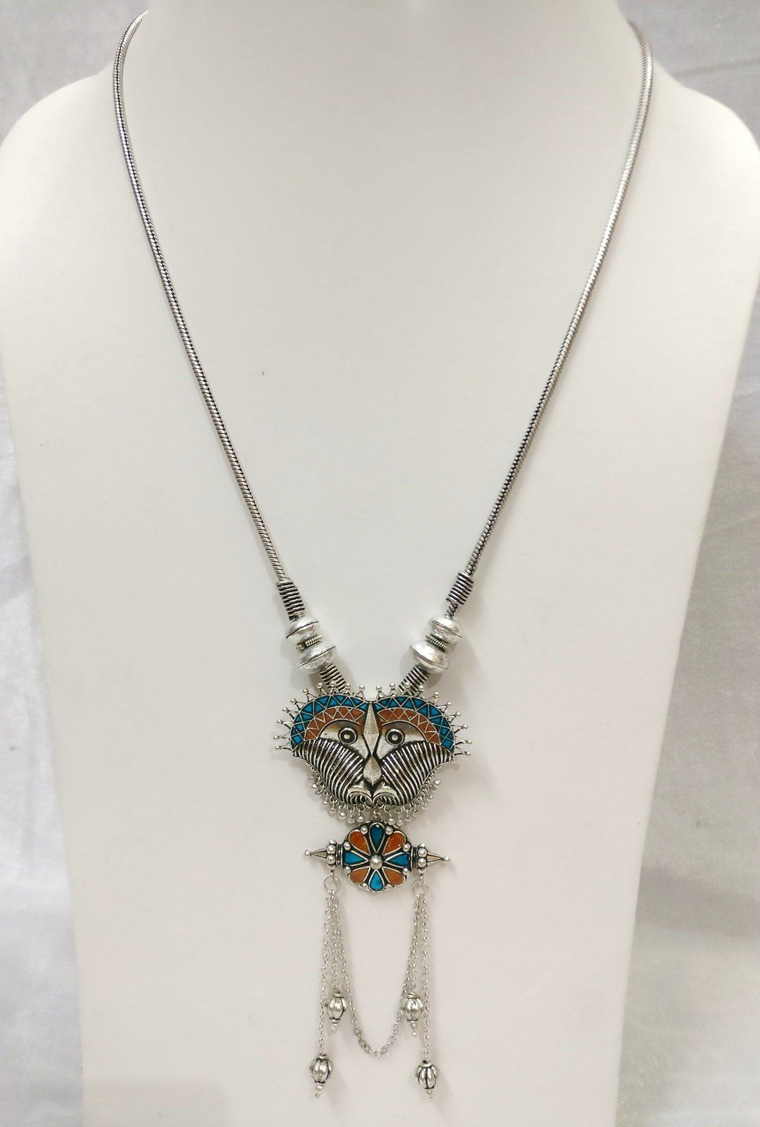 Women handmade silver oxidized pendant necklace jewelry set colorful