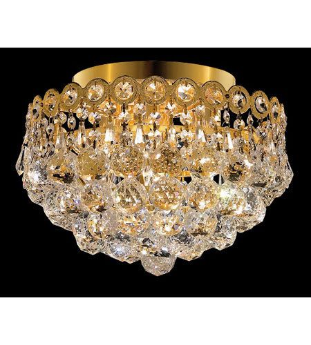 Palace Royal 4 Light Flush Mount Crystal Chandelier Lighting Gold