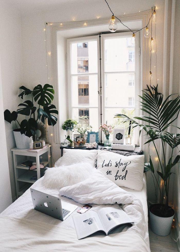 Deco Chambre Bohème Chic, Blanche Deco Chambre Adulte, Plantes Vertes, Cool  Idée Design Moderne Pour Petite Chambre