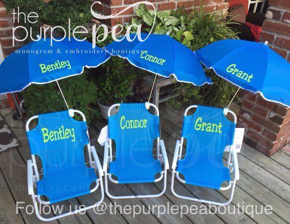 Monogrammed Kid S Beach Chair W Umbrella Childs Beach