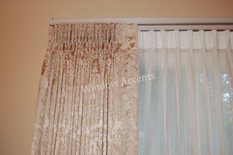 Pleated Drapes And Sheers Window Treatments On Double Traverse Rod