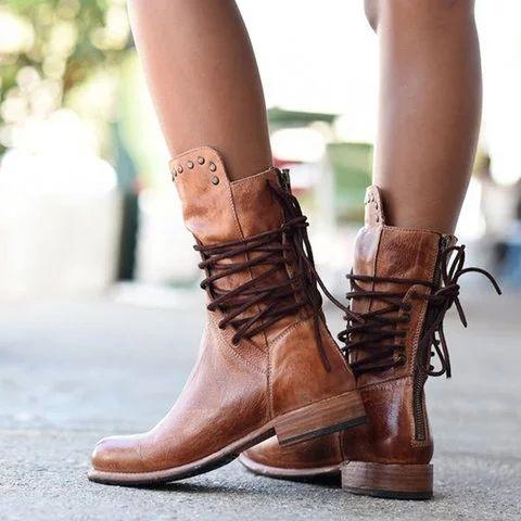 Back Zipper Vintage Boots Lace-Up