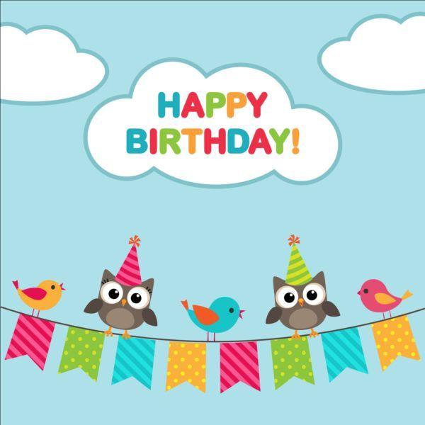 Happy Birthday Card And Cute Owls Vector 04 Midori Pinterest