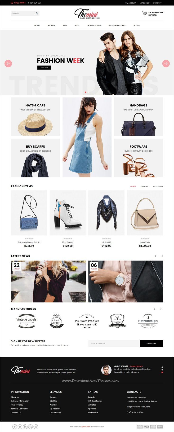 Themini is clean and modern design 3in1 responsive #OpenCart theme for stunning #fashion store eCommerce website download now #webdesign