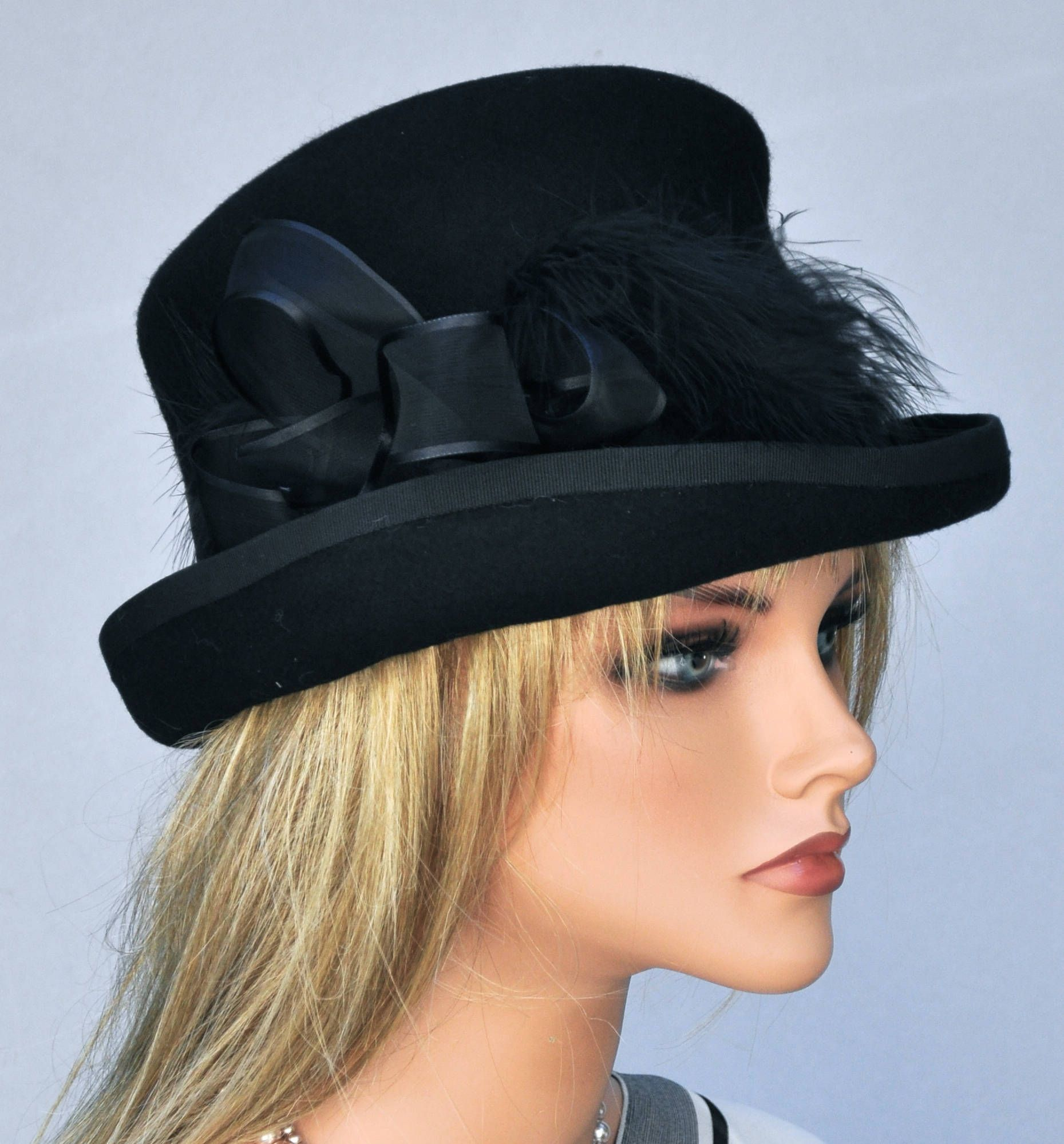 55e4505575354e Black Wool Felt Hat, Top Hat, Ladies Winter Hat, Formal Hat, Funeral Hat, Women's  Black Hat, Victorian English Riding Hat Event Occasion Hat