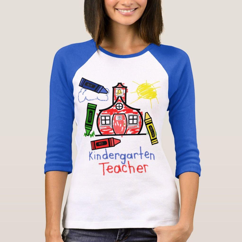 kindergarten teacher t shirt schoolhouse  crayon tshirt