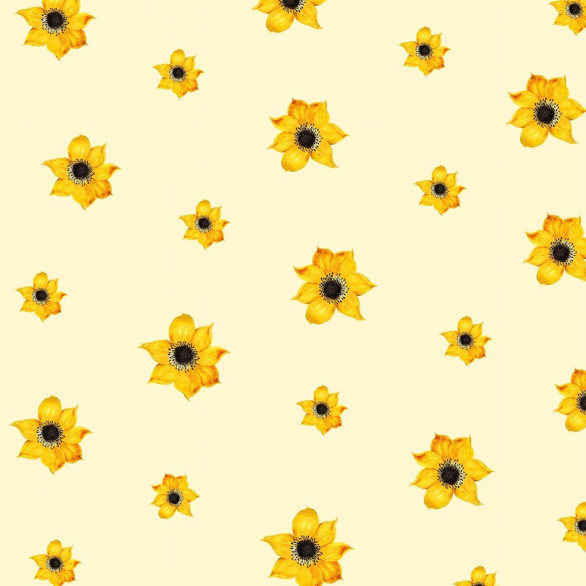 Download Premium Illustration Of Vintage Yellow Flower Pattern Background In 2020 Background Patterns Background Design Vintage Yellow