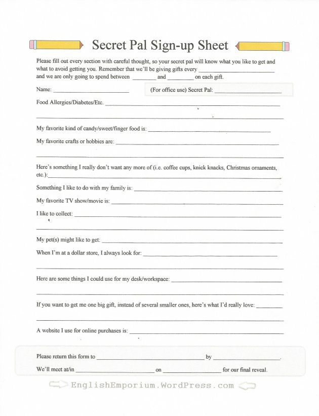Printable Sign-up Sheet for Secret Pal or Secret Santa Staff - resume forms to fill out