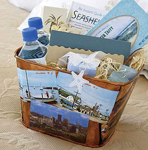 Gifts For Out Of Town Wedding Guests: Decoupage Your Postcards Onto A Wooden Or Tin Basket For A