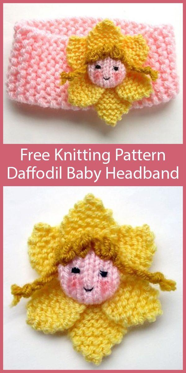 Free Knitting Pattern for Daffodil Fairy Baby Headband # ...