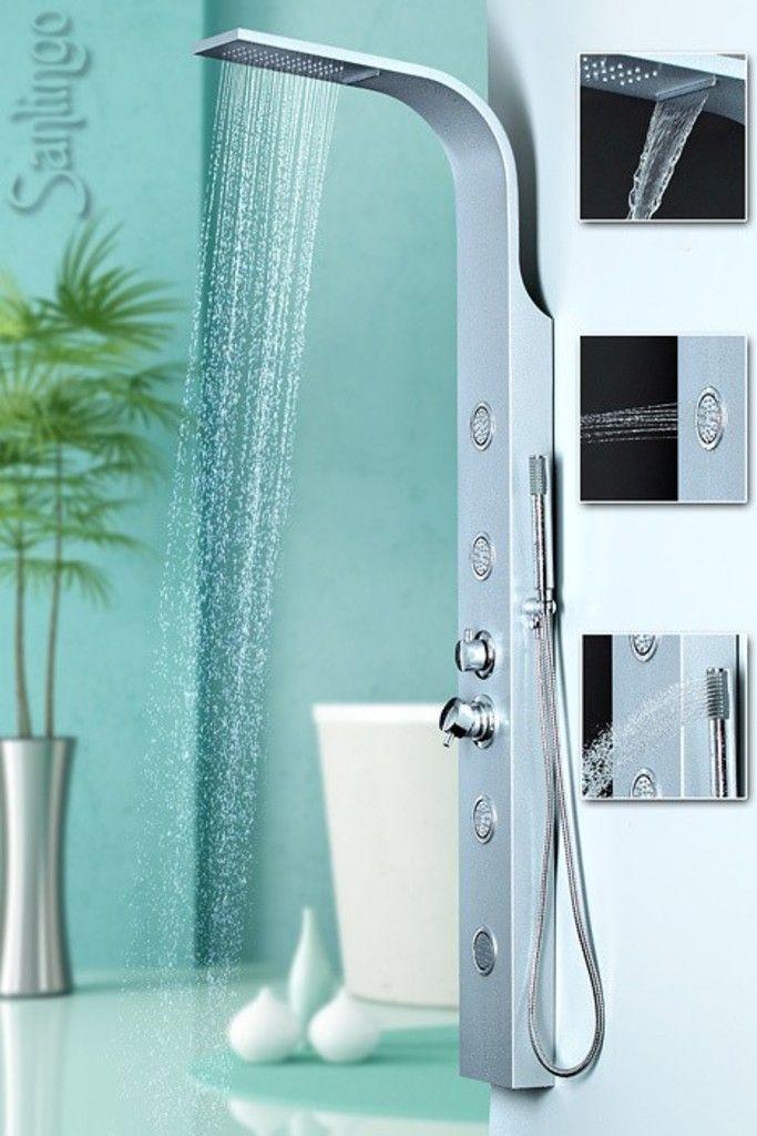 Duschpaneel Aluminium Duschsaule Mit Massagedusen Und Wasserfall