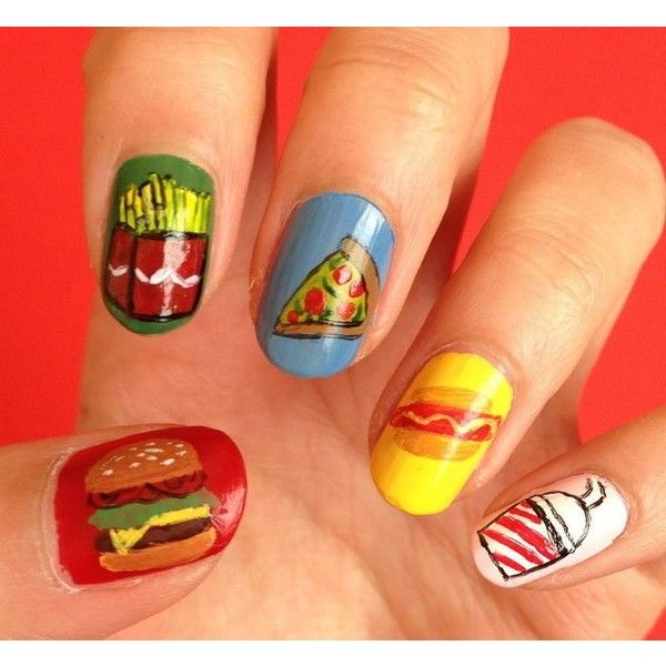 11 Fabulous Junk Food-Inspired Manicures That Won't Ruin Your Diet ❤ liked on Polyvore featuring nails