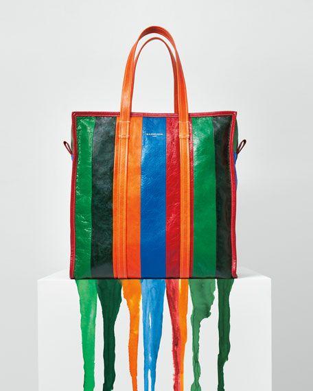 442295ff5 Bazar Shopper Medium Striped Leather Shopper Tote Bag Multi ...