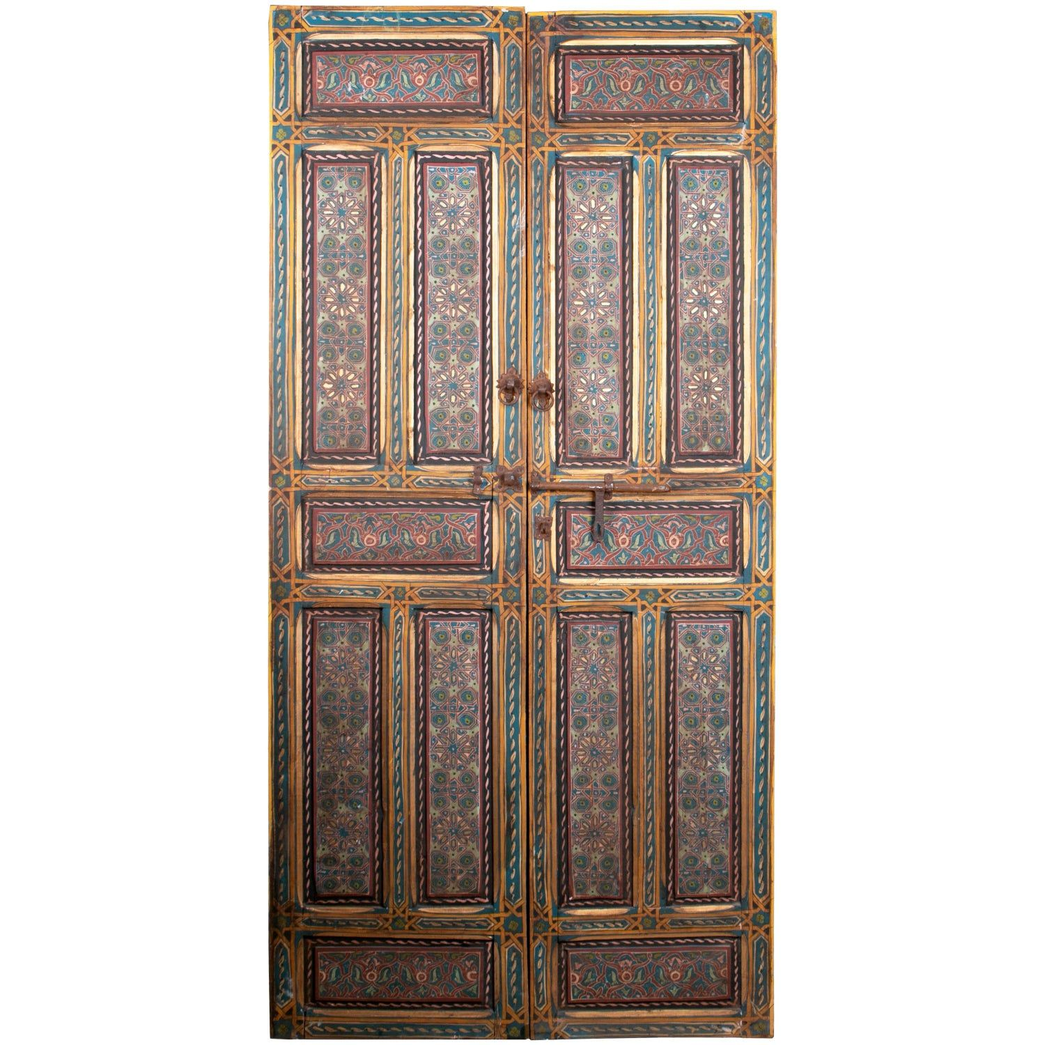 1950s Moroccan Hand Painted Two Leaf Door With Iron Lock Iron Front Door Wooden Double Front Doors Wooden Main Door