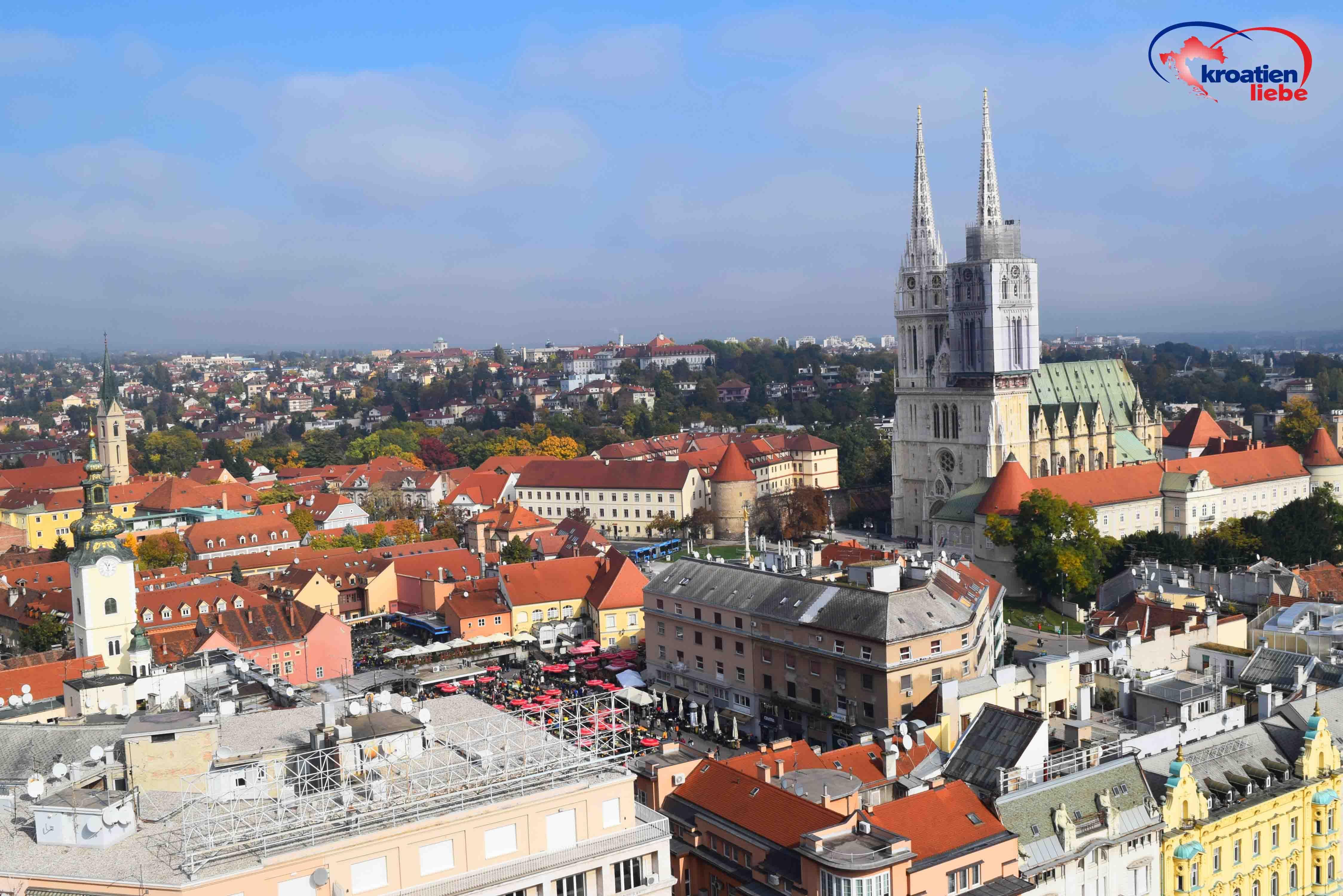 Der Markt Dolac Und Die Kathedrale Von Zagreb Von Oben Aussicht Vom Zagreb Eye Kroatien Urlaub Urlaub Buchen Zagreb