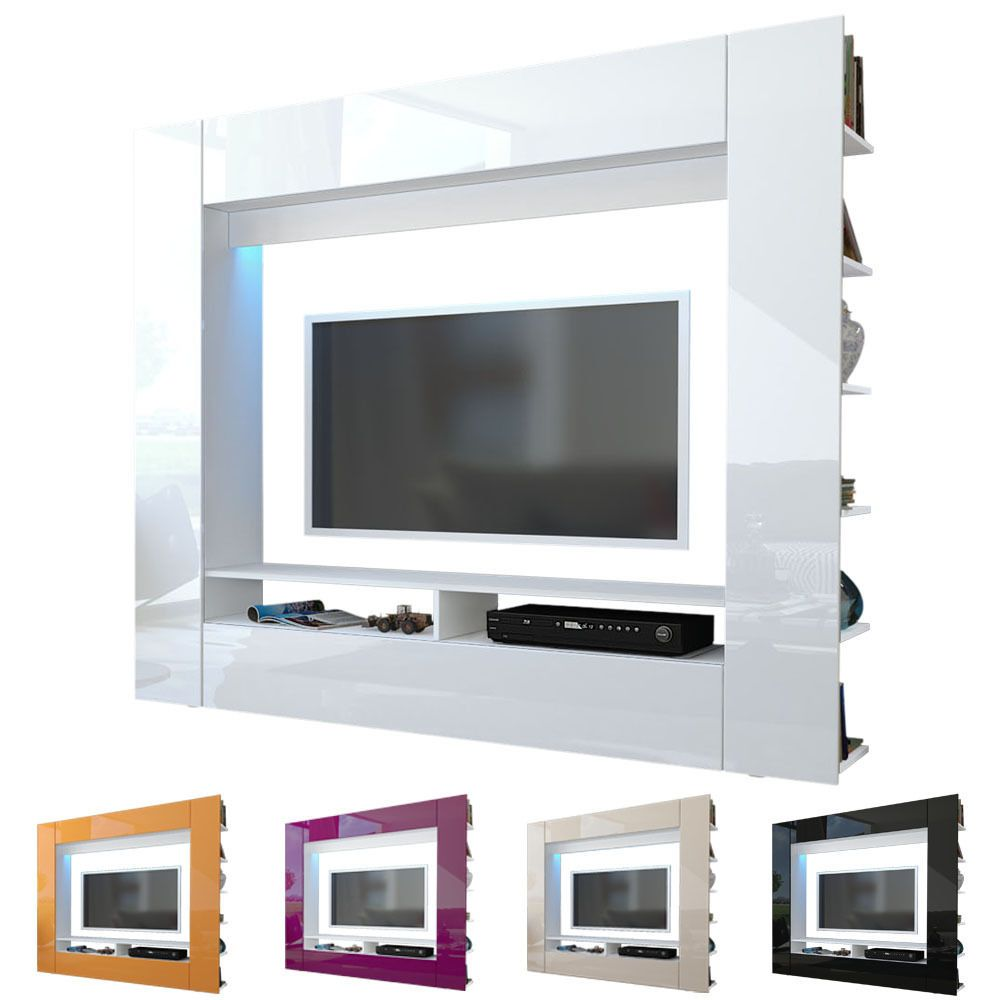 Wall Unit Tv Stand Living Room Furniture Olli White High Gloss Natural Tones High Gloss